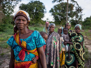 A group of women and children from the Sicubir community, Angoche, Mozambique