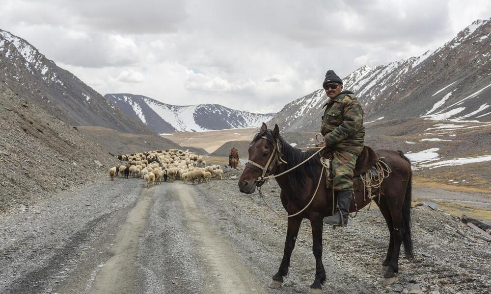 A Kyrgyz herder near a pass at over 13,500 feet, in the central Tien Shan Mts.