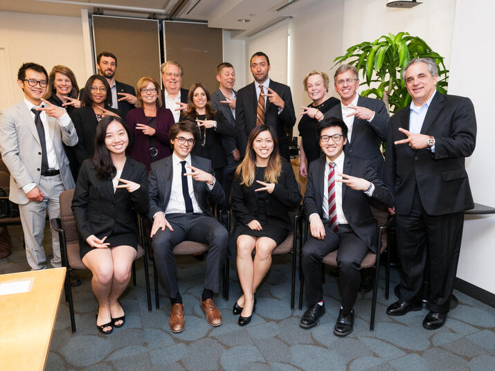 The winning undergraduate team representing The University of Chicago pose with the Accenture and World Wildlife Fund judges