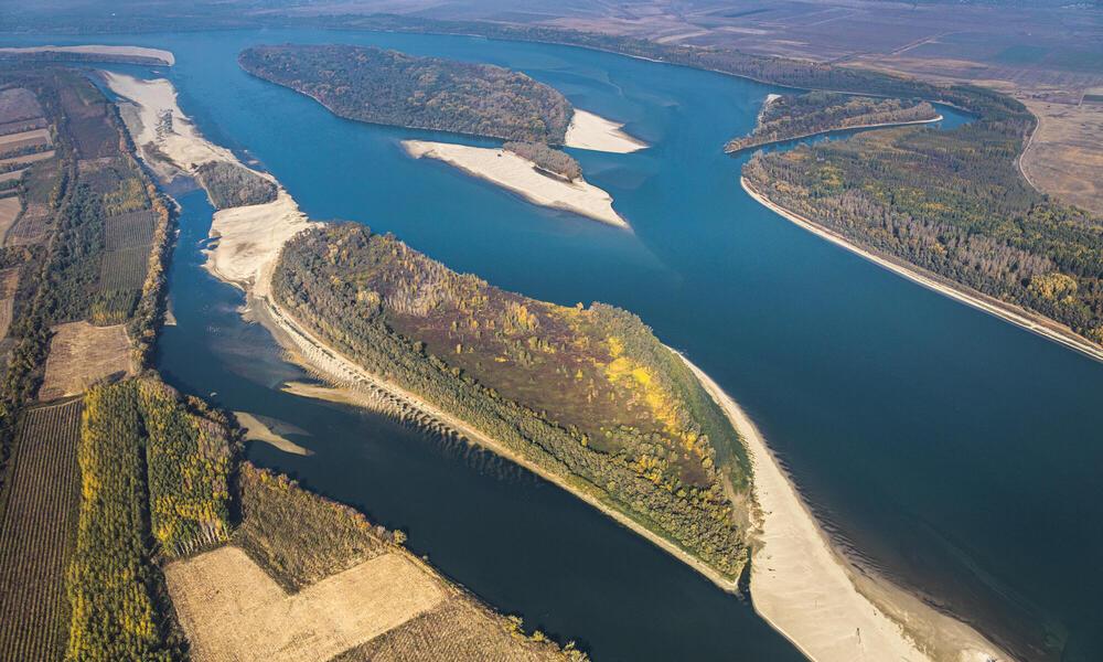 Aerial shot of the Danube River