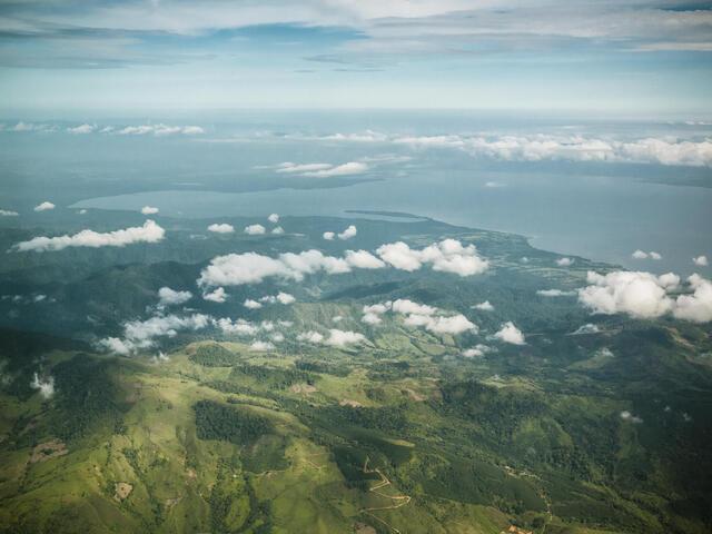 Aerial view of Sierra las de Minas biosphere reserve in Guatemala