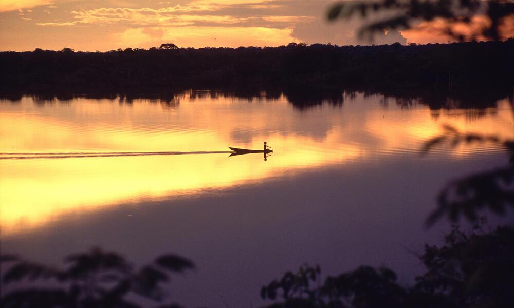 Amazon sunset over over Seringalhinho Lake