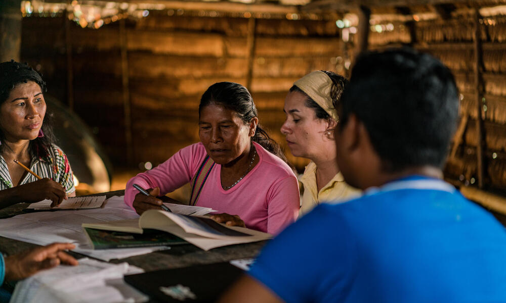 Environmental Assessment team in Amazon, Colombia with members from WWF and La Chorrera Indigenous tribe