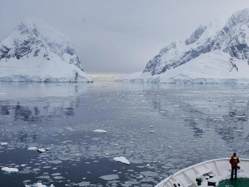 A research boat in Antarctica