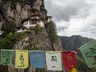 bhutan temple and flags