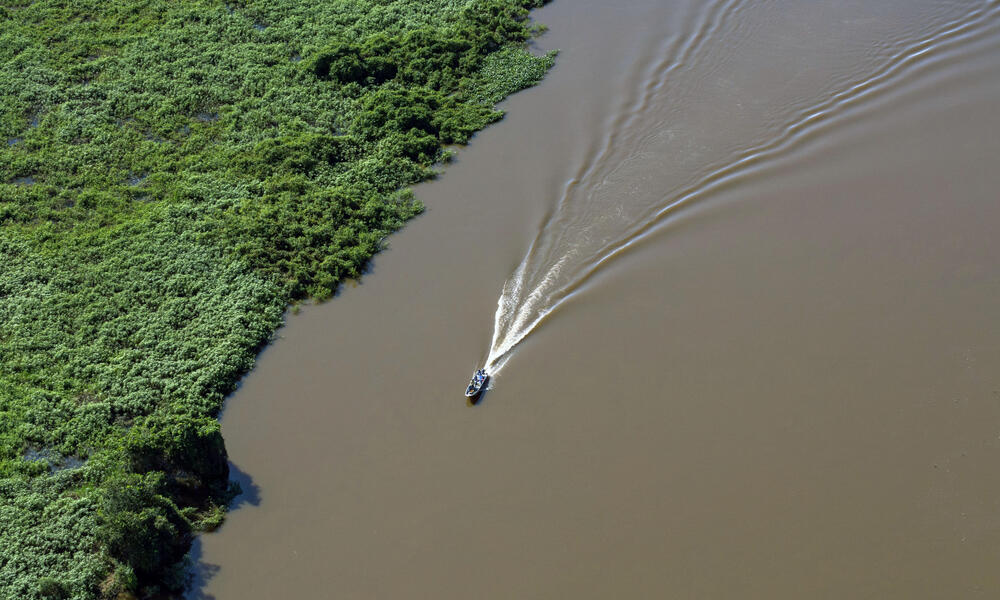 A boat floating down the Paraguay River