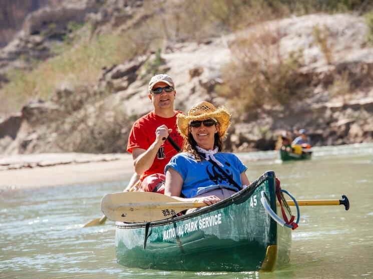 Nancy Labbe (WWF-US) and Jon Radtke (TCCC) riding a canoe on the Rio Grande River, Texas.