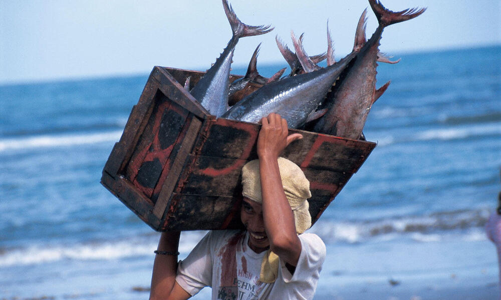 man carrying tuna