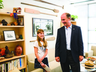 Carter Roberts with 13-year-old environmentalist and entrepreneur Charlotte Mayer