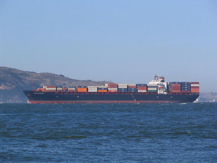 A large container cargo vessel ship sailing in Santa Barbara
