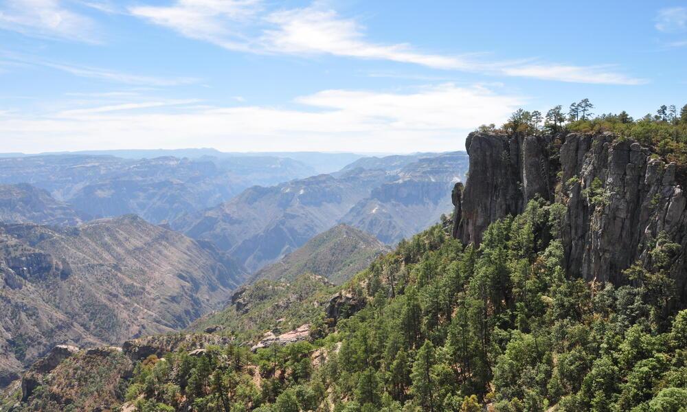 Looking down into Cooper Canyon in the Sierra Tarahumara
