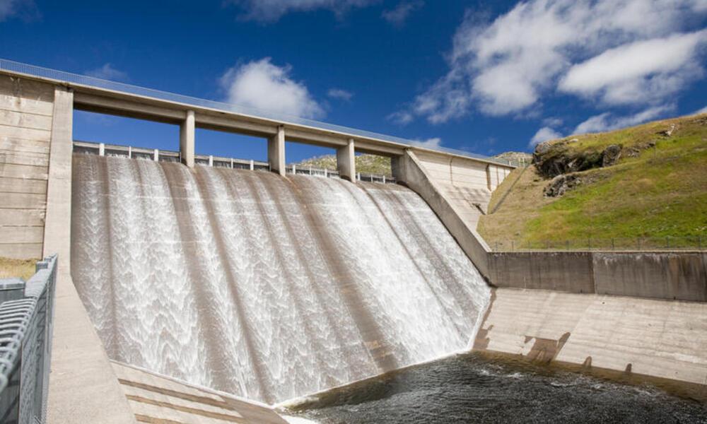 Gathega Dam supplying the water to power Guthega power station as part of the Snowy mountains hydro scheme, New South Wales, Australia.