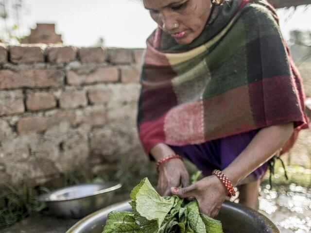 Devi KC, secretary of the Gauri Mahila Community Forest User group, prepares lunch at her home in Dhoderi village, Bardia, Nepal