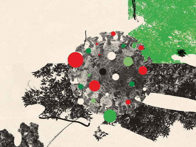 Red and green germ illustration with trees