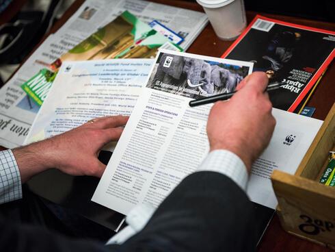 A legislator reviews documents