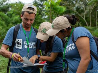 Forest restoration workshop participants review data