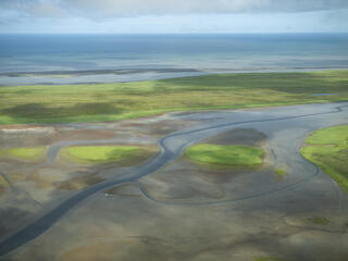Aerial landscape with Bristol Bay in the background
