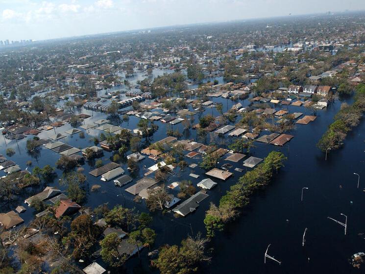 Flooded neighborhood from Hurricane Katrina