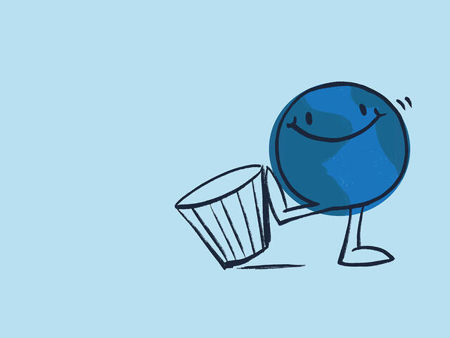 Animated planet Earth kicking over a trash can