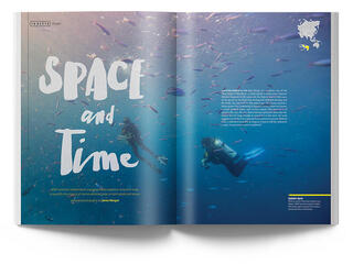 Magazine open to Space and Time feature