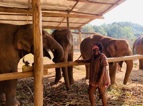 Florence Adewale stands in front of a group of elephants gathered under a roof