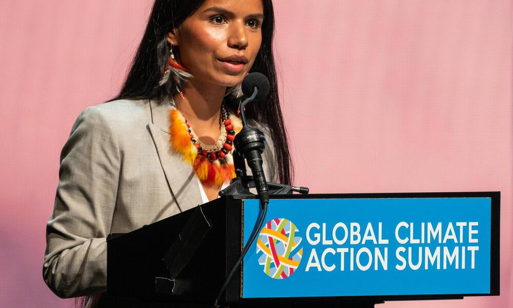 Nina Gualinga addresses GCAS audience