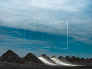 Rhombuses over hills landscape