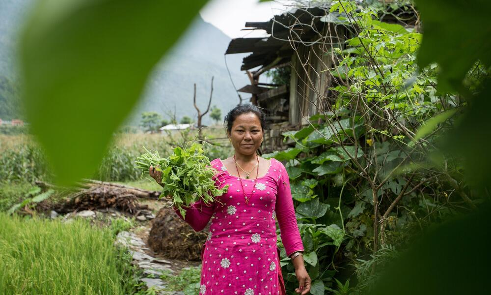 A woman dressed in all pink stands in front of a large mountain holding a bunch of green vegetables and looks at the camera