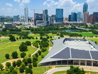 solar panels on a building in Austin Texas