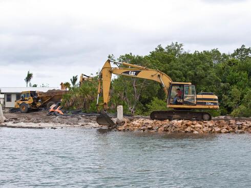 Construction in Belize's barrier reef