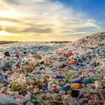 Mounds of plastic bottle waste and other types of plastic waste at the Thilafushi waste disposal site.