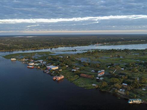 Aerial view of Margarita Island, Pantanal, Paraguay