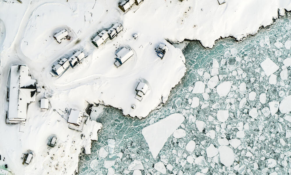 Aerial view of the remote Arctic town of Ittoqqortoormiit, East Greenland