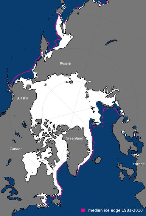 Map of sea ice extent in January 2018