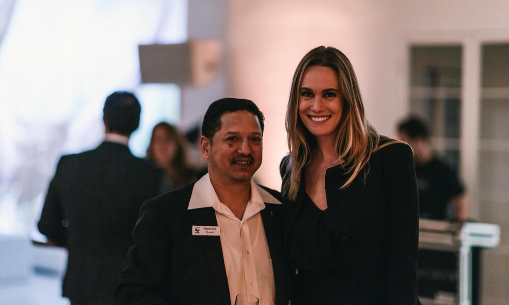 Rajendra Suwal and WWF supporter Ashlan Gorse- Cousteau