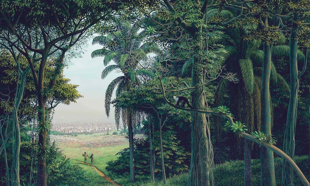 Painting of people walking out of a jungle
