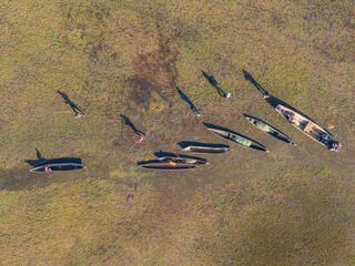 Aerial photo of fisher boats on shore