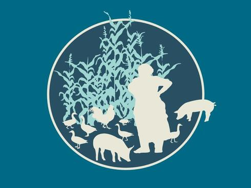 Graphic with silhouette of person and livestock