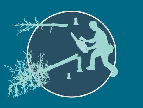 Graphic of person cutting down tree