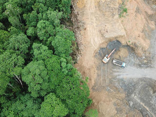Deforestation aerial photo of lush green forest on the left and bare brown dirt next to it on the right