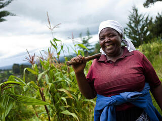 Margaret Wanjiru in a field on her farm on Lake Naivasha