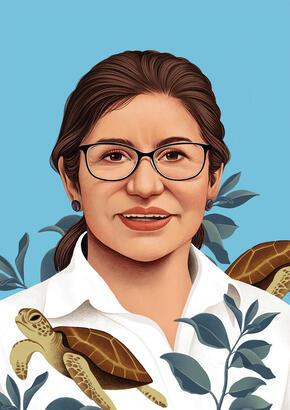 Illustrated potrait of Mariuxi Farías