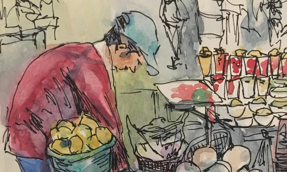 Painting of a person shopping at a market