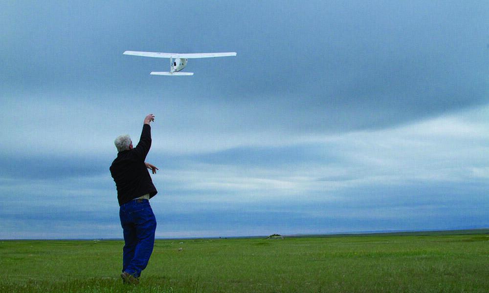 McCaffery launching the drone