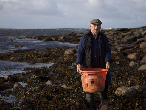 Mickey Talty holding a basket of wild seaweed
