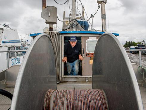 Mike Davis on his fishing boat in Bristol Bay.