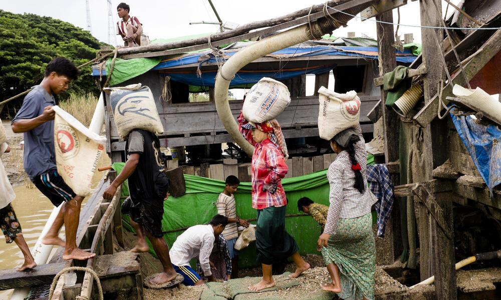 mixing cement in myanmar