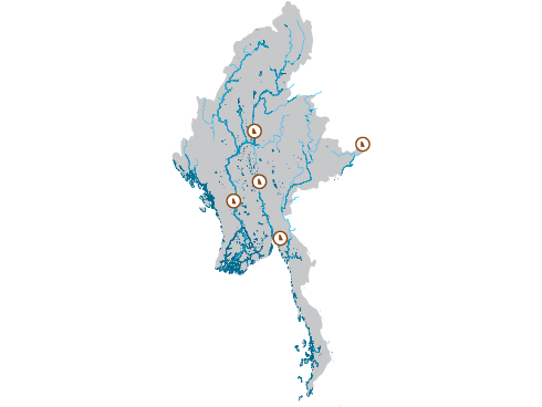 Map of water bodies and dams
