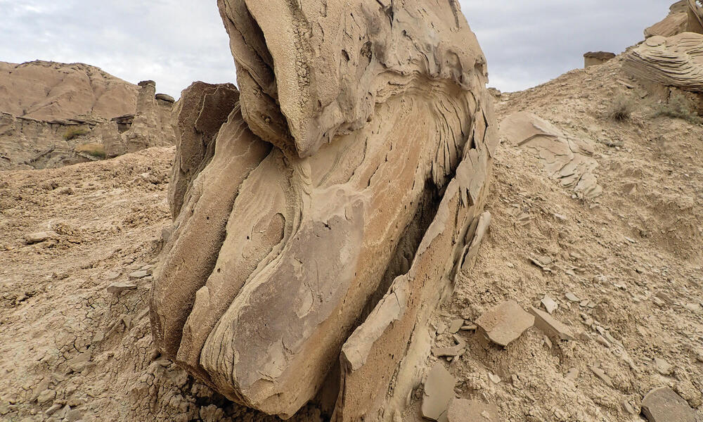 Brown, layered rock formation