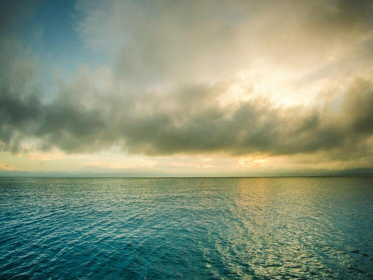 Ocean water with a cloudy horizon